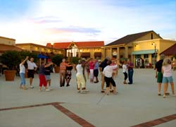 Dancing on The Town Square at Circle Square Commons.